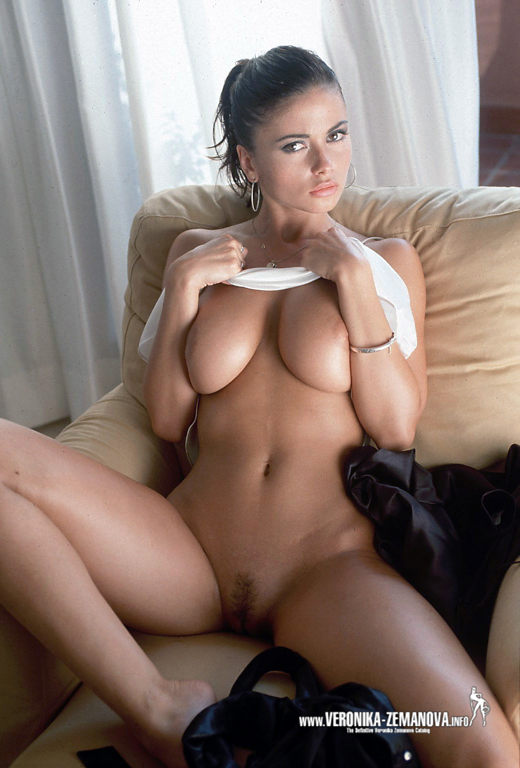 Set 453 : White Top, Tan Couch, Hair in Bun